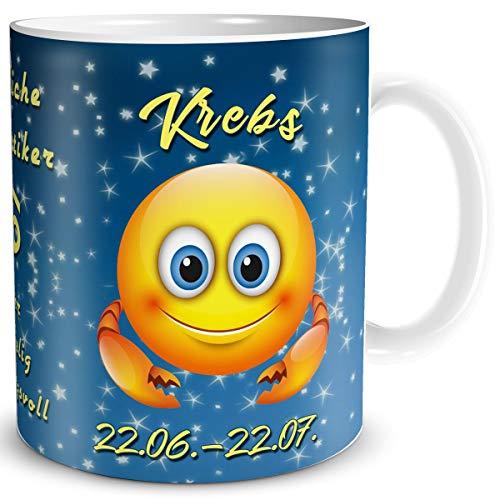 TRIOSK Tasse Smiley mit Spruch lustig Sternzeichen Krebs Geburtstagstasse Geschenk für Frauen Männer Kollegen Geburtstag