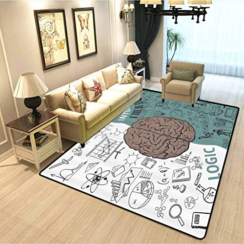 Modern Decor Family Room Carpet Decoration Brain Image with Left and Right Side Music Logic Art Side Science Print High-end Luxury Bedroom Carpet White Teal Umber W4.5xL5.2 Feet