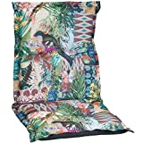 Gartenstuhlauflage Sitzkissen Polster für Niederlehner mit Dschungelmotiv Premium Bezug aus 100% Baumwolle