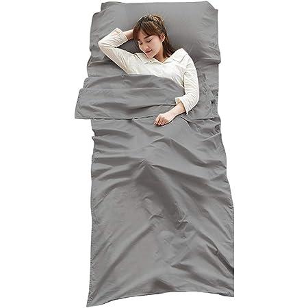 CUDO 寝袋インナーシーツ 寝袋ライナー トラベルシーツ シュラフ 折り畳み式 アウトドア用寝具 キャンプ 出張 旅行 室内外兼用 封筒型