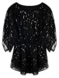 PrettyGuide Women's Sequin Cocktail Party Tops Glitter Holiday Dressy Evening Tops Black Scalloped US12