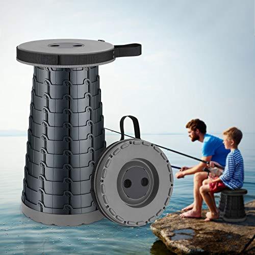 KINLO Camping Hocker Tragbarer Klapphocker Teleskophocker Mini Outdoor Höhenverstellbarer für Erwachsene und Kinder Innenbereich Camping Angeln Wandern Grillen(Belastung 225kg,Grau schwarz)