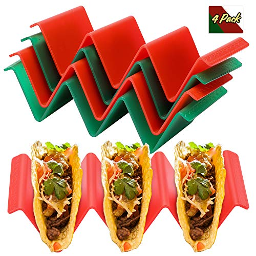 Colorful Taco Holder Stands Set of 4  Premium Large Taco Tray Plates Holds Up to 3 or 2 Tacos Each Non Toxic BPA Free Health Material Very Hard and Sturdy Microwave Dishwasher Safe