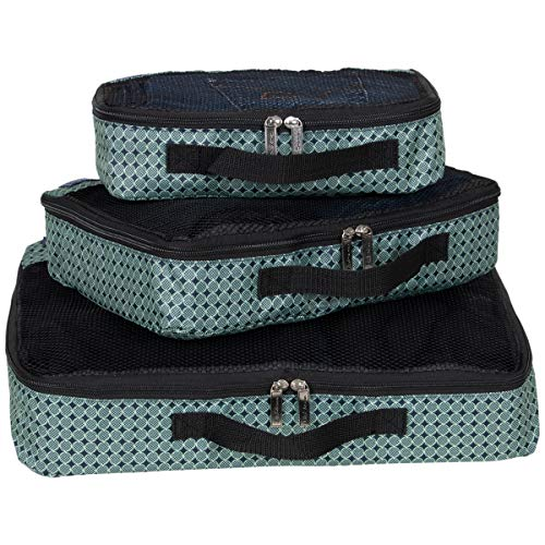 Ben Sherman 3-Piece (Small, Medium, Large) Lightweight Durable Printed Organizer Packing Cube Travel Set For Luggage, Mint/Navy, One Size