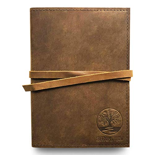 Freedoms Flow Leather Journal Writing Notes Travel Life Purpose Quell Fear Gift Boxed 11.5 X 8.5 inch Brown Leather Gift Journal 200 Pages Refillable