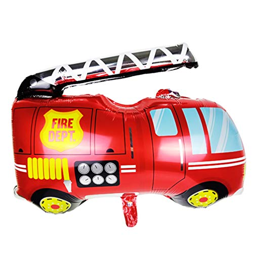 jojofuny Rosso Jumbo Fire Truck Stagnola Palloncino Gonfiabile Foglio di Mylar Palloncini Fuoco Motore A Tema Decorazioni Fire Man Festa di Compleanno Forniture