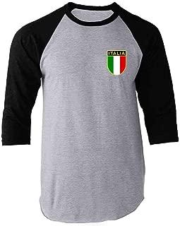 Italy Soccer Retro National Team Raglan Baseball Tee Shirt