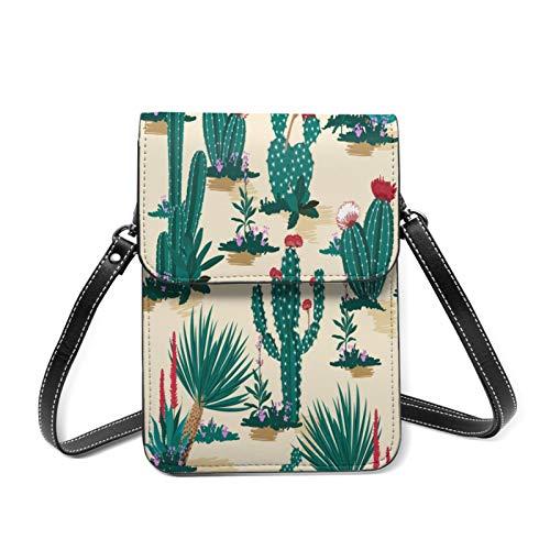 スマホポーチ レディースショルダーバッグ 美しい咲く多肉植物の花のファッションと混合された砂漠の夏のサボテン 財布斜めかけバッグ 多機能 小物入れ カワイイ キフト 13.5CMX19CM
