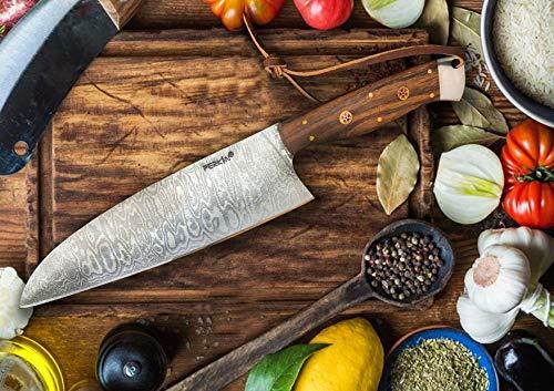 Perkin - Cuchillo de chef de damasco de acero de 33 cm