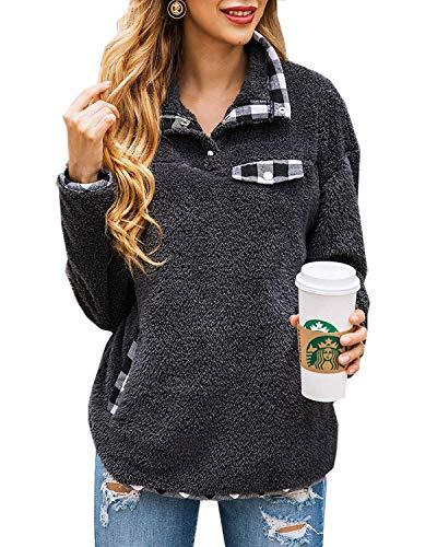 Yanekop Womens Fuzzy Fleece Pullover Plaid Print Sherpa Sweatshirt Button Collar Tops With Pockets(Dark Gray,S)
