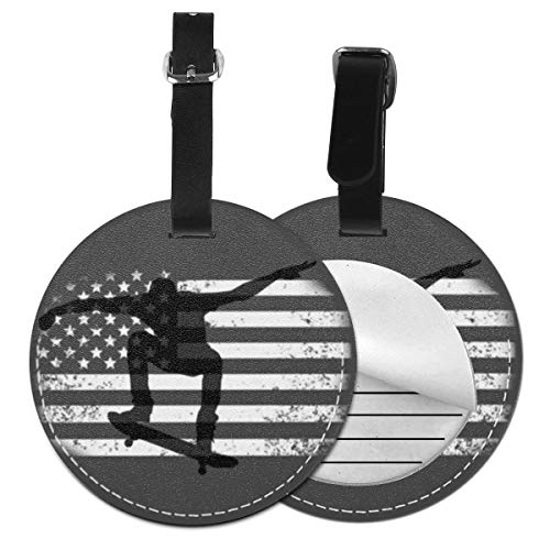 Kofferanhänger PU Leder Skateboard amerikanische Flagge, Gepäckanhänger ID Etikett Mit Adressschild Namenschild für Reisetasche Koffer