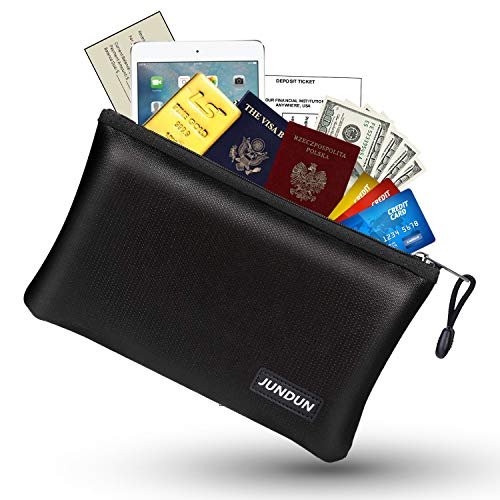 "JUNDUN Fireproof Money Bag, 10.6""x6.7"" Fireproof and Waterproof Cash Bag with Zipper Closure,Fireproof Safe Storage Pouch Envelope for A5 File Folder,Document, Bank Deposit,Passport,Jewelry"