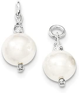 Sterling Silver Freshwater Cultured Pearl and Bead Hoop Earring Enhancers