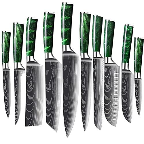 Set de cuchillos de chef Conjunto de cuchillos de cocina - 10 PCS Conjunto de cuchillos de cocina de acero inoxidable - Juego de cocción de cuchillos - cuchillo de cocción ultra afilado - Mango de res