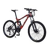27 Speed Mountain Bike, Aluminum Bicycle with Shimano M370 Brake Set, Full Suspension MTB, Lightweight, Dual Disc Brake, 26 Inches Wheels Outdoor Bike for Adults, Men, Women