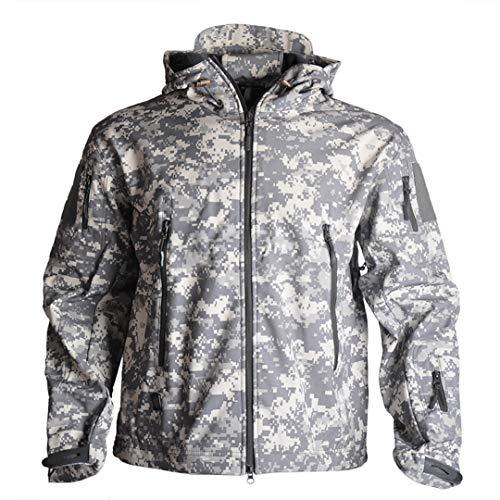 RatenKont Hombres táctico Militar Airsoft Senderismo Camping Caza Soft Shell Impermeable Polar Chaqueta Cortavientos ACU L