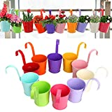 Finderomend 10 Pack Railing Hanging Flower Pots,Metal Iron Hanging Flower Pots Balcony Pots Fence Bucket Pots with Detachable Hooks,Flower Holders