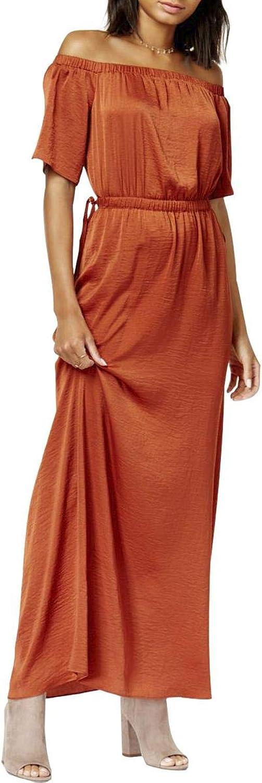 Bar III Womens OffTheShoulder FullLength Maxi Dress