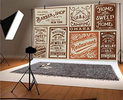 Vecchio giornale 20,8 x 15,7 m sfondo in vinile fotograficoVari cartelli pubblicitari barbiere ristorante campeggio sfondo stile retrò per feste decorazione casa all'aperto tema sparare puntelli