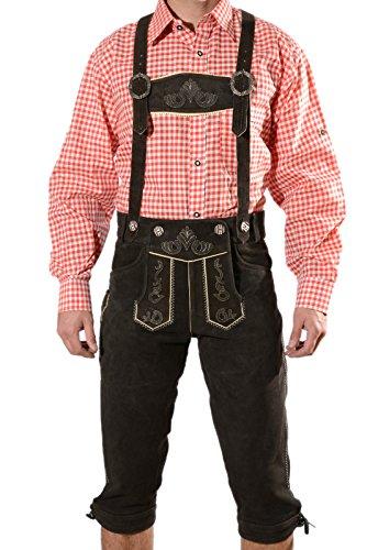 Bayerische Herren Trachten Lederhose, Trachtenlederhose mit Trägern, original in Dunkelbraun, Oktoberfest, Größe 56