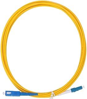 Parche de fibra óptica, 2pcs 3 metros LC/UPC a SC/UPC Cable de cable de conexión de fibra óptica amarillo para sistema de comunicación de fibra óptica, transmisión de datos de fibra óptica y red de ár