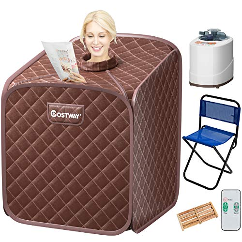 COSTWAY Portable Steam Sauna, 2L Folding Home Spa Sauna Tent for Weight Loss, Detox Relaxation at Home, Personal Sauna with 9 Temperature Levels, Timer, Remote Control, Foldable Chair (Coffee)