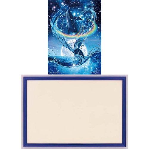 500ピース 光るジグソーパズル めざせ! パズルの達人 ラッセン プレシャス ラブ(From Art & Soul) (38x53cm)+木製パズルフレーム ウッディーパネルエクセレント シャインブルー (38x53cm)
