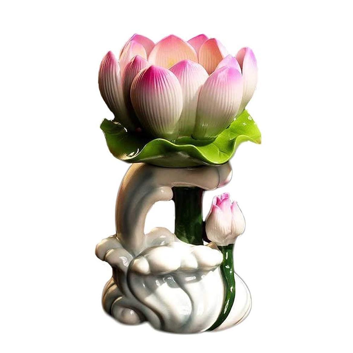 全滅させるメダル水曜日燭台 仏セラミックキャンドルランプホルダーロングランプホームの礼拝のための燭台水波ロータス