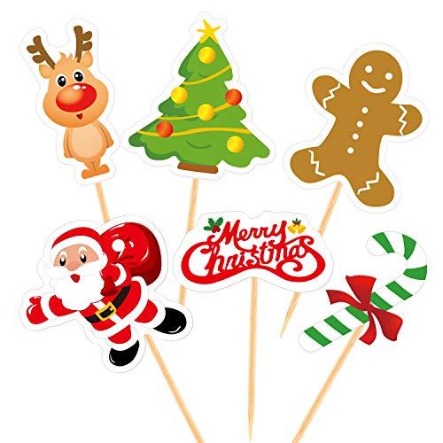 FEPITO 60 Stücke Weihnachten Cupcake Toppers Picks Frohe Weihnachten Zahnstocher Fahnen für Weihnachten Kuchen Dekorationen Weihnachtsfeier Urlaub liefert