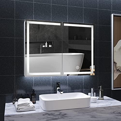 DICTAC Armoire Toilette Miroir avec éclairage 80x13.5x60cm Meuble Miroir Salle de Bain avec LED,3 Couleur,Prise pour Rasoir, métal Armoire de Toilette avec Miroir,Interrupteur Tactile Capteur, Blanc