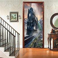3Dウォールステッカー 電車のドアのステッカーリビングルームの寝室の装飾紙の壁紙ポスター壁画