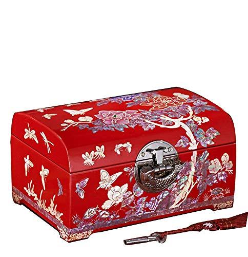 ALIANG Madera, Caja de Almacenamiento China, Artesanía, Caja de Almacenamiento de Joyas, Tocador, Estilo Europeo, con Cerradura