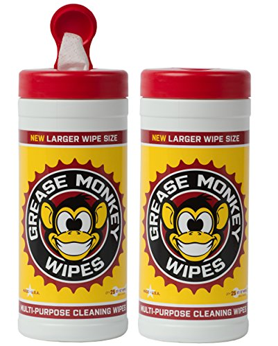 Grease Monkey Wipes Canister Heavy Duty Cleaning Wipes Canister, Pack of 2, 25-Count Each