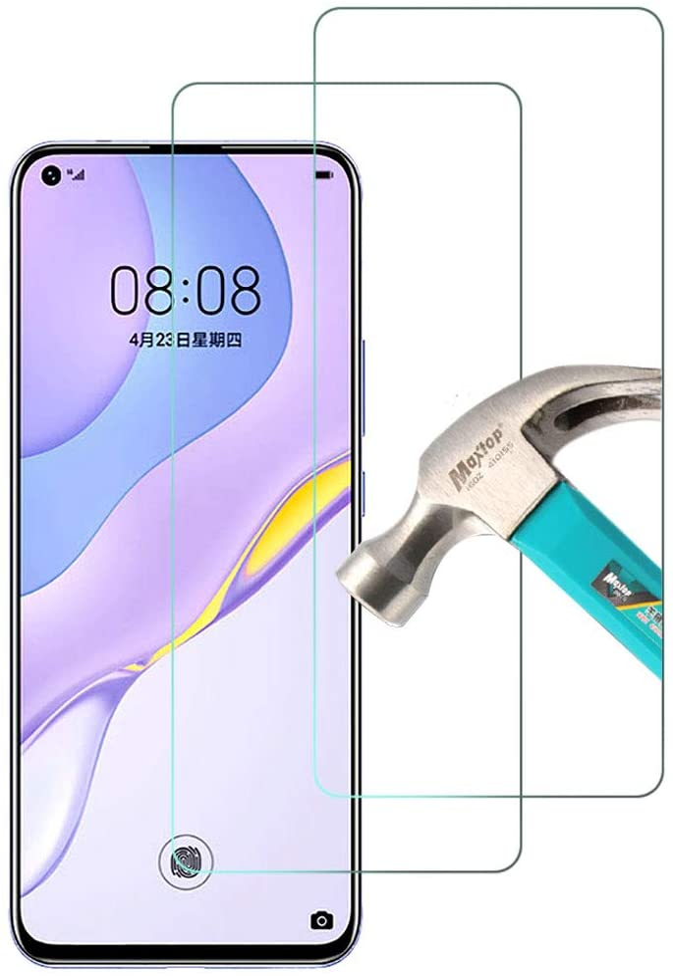 واقي شاشة من افجلوي عبوة من قطعتين، متوافق مع غطاء شاشة هواوي نوفا 7 اي 5G، من الزجاج المقسى لهواوي 7 اي، مقاوم للخدوش بصلابة 9 اتش، خال من الفقاعات، سهل التركيب