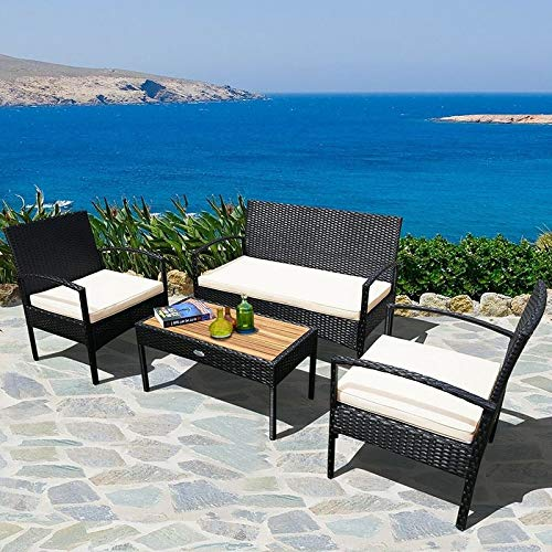 Walsunny 4 Pieces Outdoor Patio Furniture Sets Rattan Chair Wicker Set,Outdoor Indoor Use Backyard Porch Garden Poolside Balcony Furniture(Black)