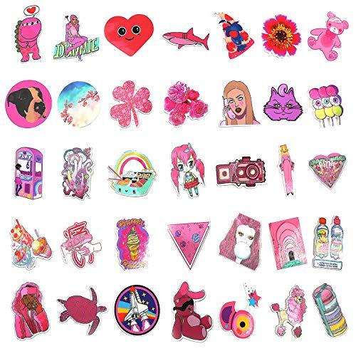 Mizzuco Vinyl Stickers Waterproof Pink Stickers 64 Pieces for Laptop Bumper Helmet Ipad Car Luggage Water Bottle (225)