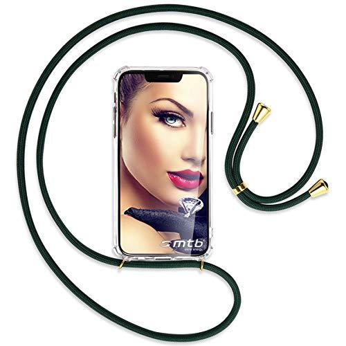 mtb more energy Collar Smartphone para Apple iPhone 5, 5S / iPhone SE (4.0'') - Verde Oscuro/Oro - Funda Protectora ponible - Carcasa Anti Shock con Cuerda