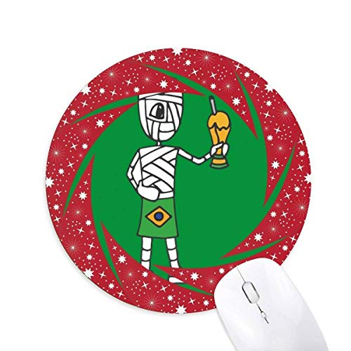 Brasilien Football Mummy Trophy Wheel Mouse Pad Round Red Rubber