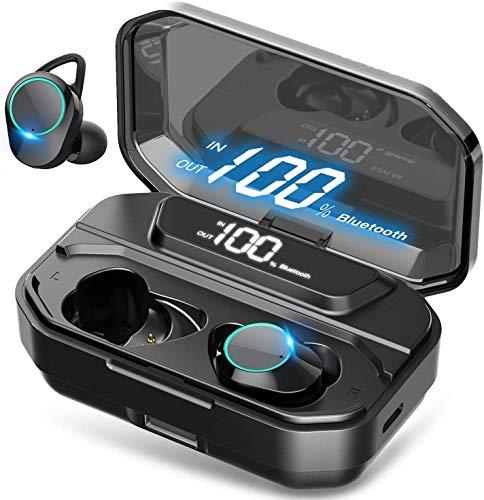 QCHEA Auriculares Bluetooth Wireless Portable 5.0 Auriculares, IPX7 Auriculares a Prueba de Agua en la Oreja for Deportes/Viajes, 3D estéreo Auriculares con cancelación de Ruido