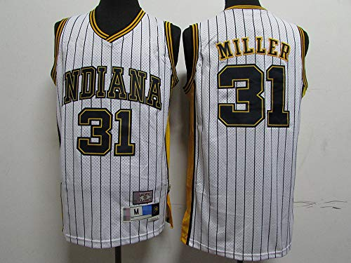 LYY Jerseys De Baloncesto para Hombres, Indiana Pacers # 31 Reggie Miller - NBA Classic Comfort Chalecos Transpirables Camiseta Uniformes Deportivos Tops,Blanco,XXL(185~195CM)