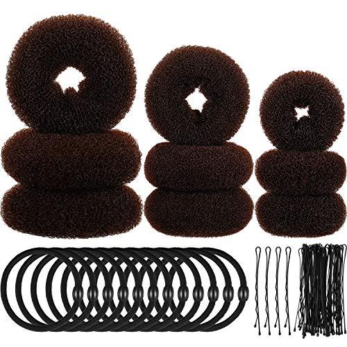 9 Herramientas de Hacer Moño de Pelo Donut de Esponja Espuma Juego de Estilo de Anillo Moño con 12 Lazos de Banda Elástica y 32 Horquillas de Pelo para Mujeres Niñas (Marrón)