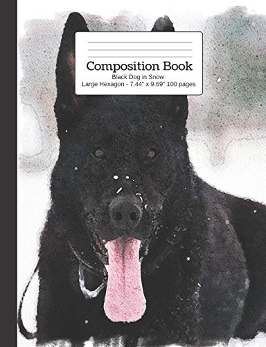 Composition Book Black Dog in Snow - Large Hexagon: Student Exercise Book: 1 (Watercolor Dogs Large Hex Notebooks)