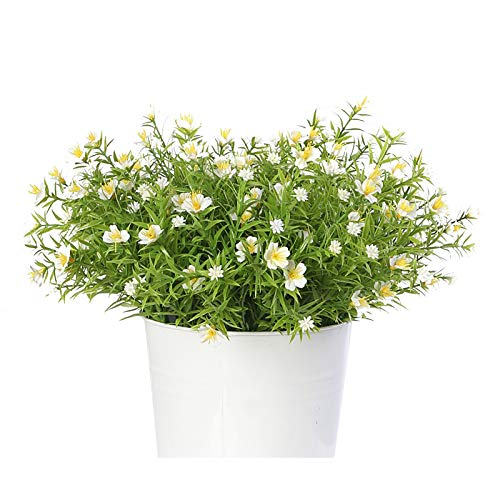 Artifical Flower, Nordic Simulation 7-Pronged Wild Fake Flower Bouquet, Indoor Outdoor UV Resistant for DIY Home Wedding Party Decor