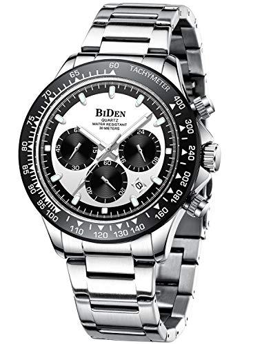 Herren Uhr Männer Chronographen Silber Edelstahl Wasserdicht Designer Armbanduhr Herren Militär Großes Leuchtende Analog Datum Business