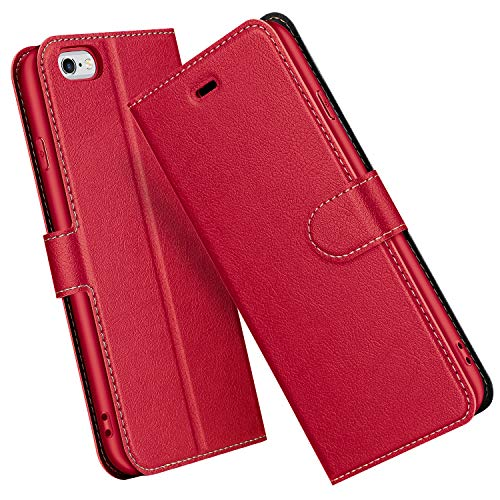 ELESNOW Hülle für iPhone 6 / 6S, Premium Leder Flip Schutzhülle Tasche Handyhülle mit [ Magnetverschluss, Kartenfach, Standfunktion ] für iPhone 6 / 6S (Rot)