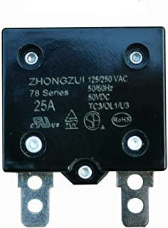 25A 125/250VAC 50/60Hz 50VDC Automatic Reset Relay Fuse, Therma Switch Circuit Breaker Current Overload Protector Children