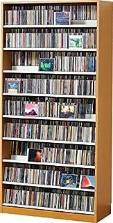 1503枚収納 CD屋さんのCD/DVDラック 収納力2倍の前後棚仕様 幅89cm インデックスプレート20枚付き (ナチュラル N)