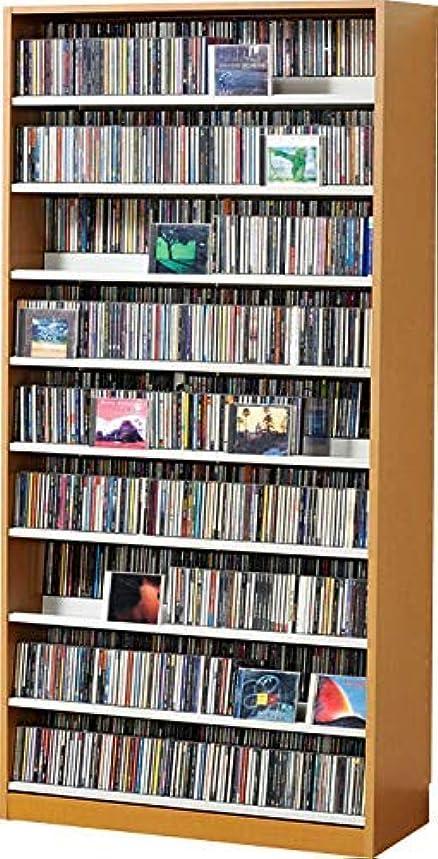 上陸太字技術1503枚収納 CD屋さんのCD/DVDラック 収納力2倍の前後棚仕様 幅89cm インデックスプレート20枚付き (ナチュラル N)