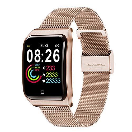 HLDUYIN Smart Watch Fitness IP68 Wasserdicht Männer Frauen Farbe Full Touchscreen Multifunktionsuhr Bluetooth Mit Herzfrequenz/Schlaf-Schrittzähler Nachricht Erinnerung,C