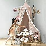 Betthimmel Baby,Betthimmel Baldachin Runde Kuppel,Kinder Moskitonetz,Betthimmel Kinder Lesesaal, Schlafzimmer Dekoration (Betthimmel Chiffon Rosa) - 3